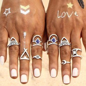 Jewelry - Silver 8 Piece Bohemian Midi Knuckle Rings Set